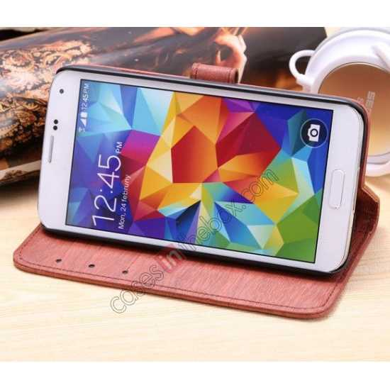 best price Wood Texture Leather Stand Case for Samsung Galaxy S5 with Credit Card Slots - Rose