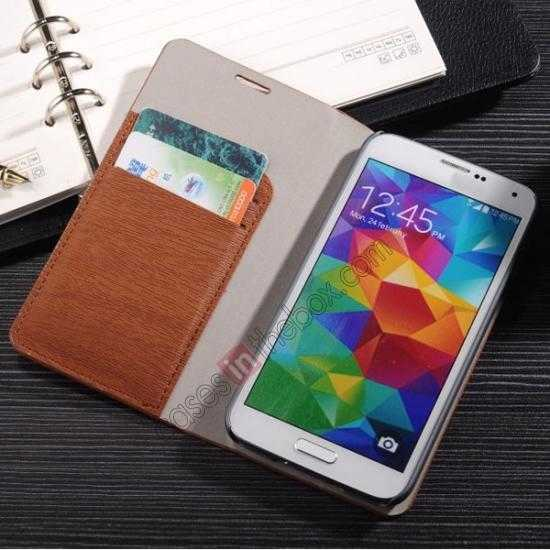 best price Wood Textured Flip Leather Stand Case for Samsung Galaxy S5 - Brown