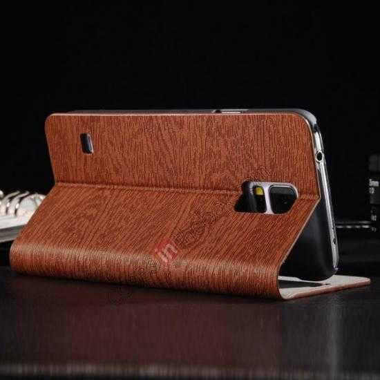 cheap Wood Textured Flip Leather Stand Case for Samsung Galaxy S5 - Brown