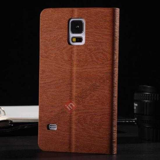discount Wood Textured Flip Leather Stand Case for Samsung Galaxy S5 - Brown