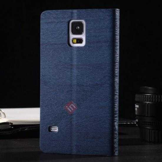 discount Wood Textured Flip Leather Stand Case for Samsung Galaxy S5 - Dark blue