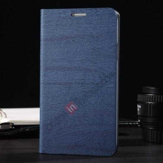 wholesale Wood Textured Flip Leather Stand Case for Samsung Galaxy S5 - Dark blue