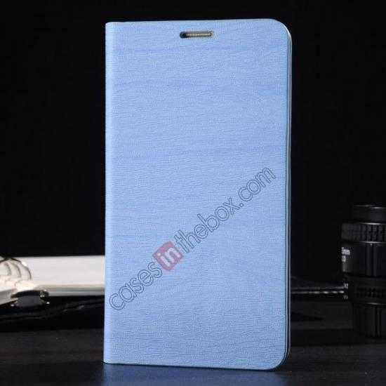 wholesale Wood Textured Flip Leather Stand Case for Samsung Galaxy S5 - Light blue