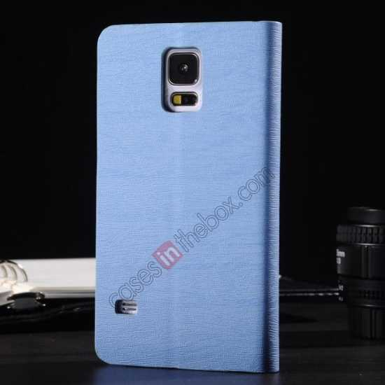 discount Wood Textured Flip Leather Stand Case for Samsung Galaxy S5 - Light blue