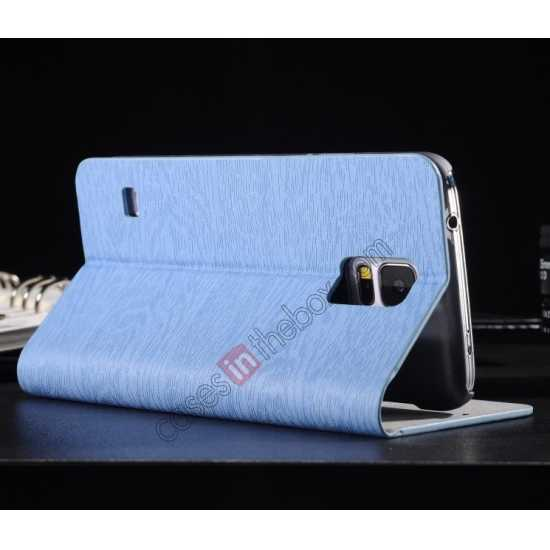 cheap Wood Textured Flip Leather Stand Case for Samsung Galaxy S5 - Light blue