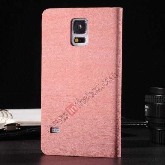 discount Wood Textured Flip Leather Stand Case for Samsung Galaxy S5 - Pink