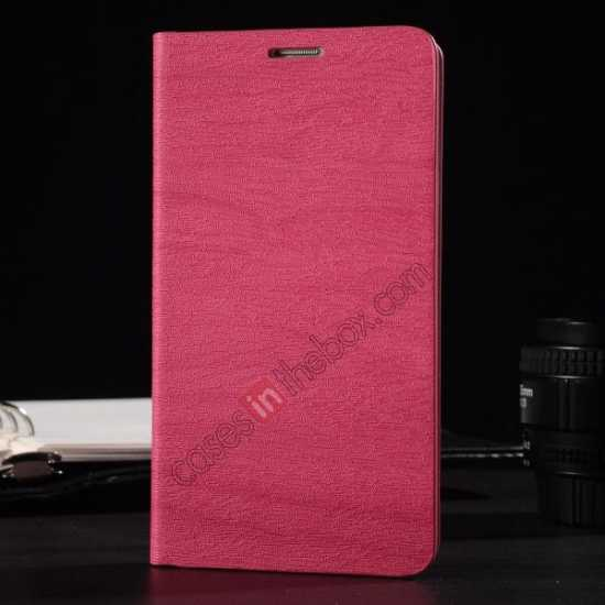 wholesale Wood Textured Flip Leather Stand Case for Samsung Galaxy S5 - Rose red