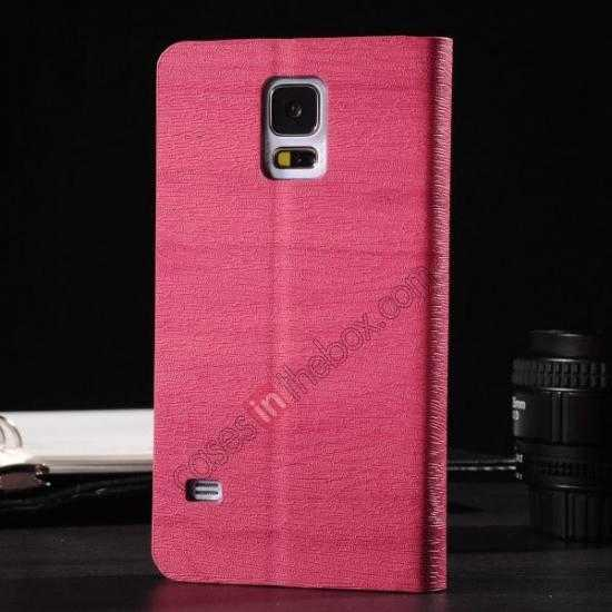 discount Wood Textured Flip Leather Stand Case for Samsung Galaxy S5 - Rose red