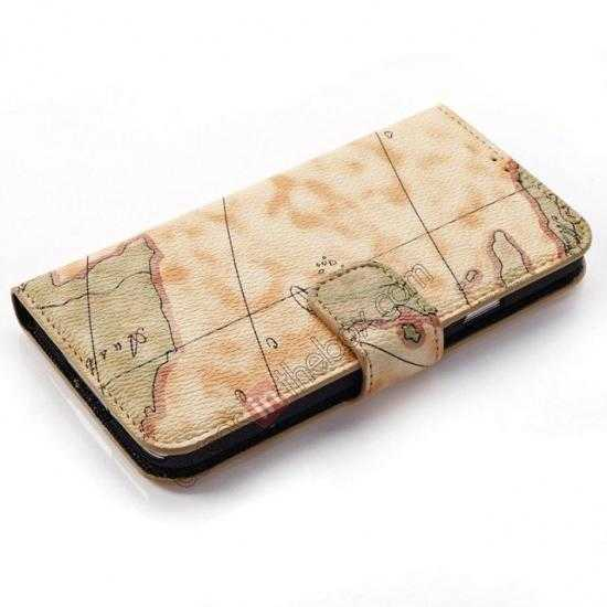 top quality World Map Leather Wallet Case for Samsung Galaxy S5 G900 w/ Stand - Yellow