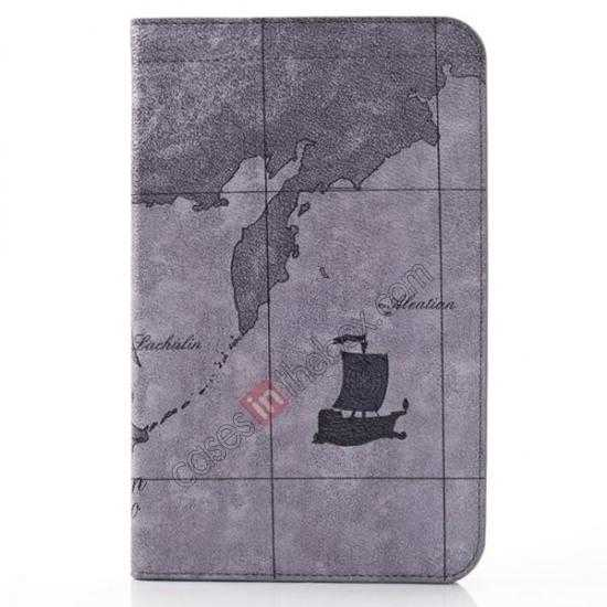 wholesale World Map Pattern Folio Stand Leather Case for Samsung Galaxy Tab 3 7.0 Lite T110 - Grey