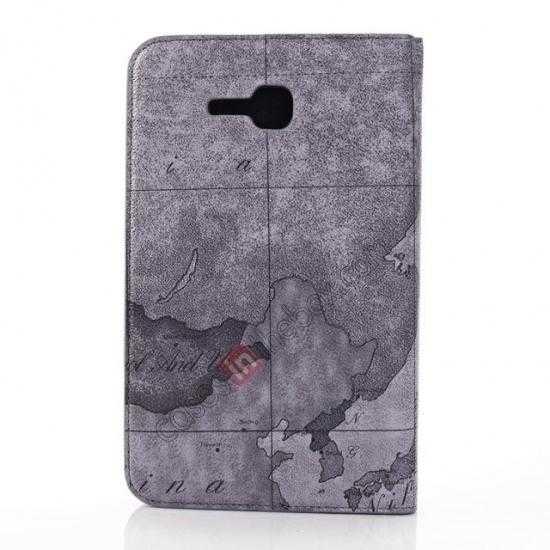 discount World Map Pattern Folio Stand Leather Case for Samsung Galaxy Tab 3 7.0 Lite T110 - Grey