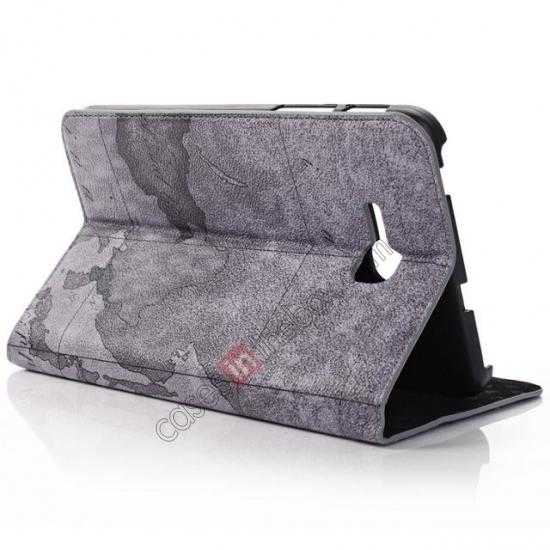 cheap World Map Pattern Folio Stand Leather Case for Samsung Galaxy Tab 3 7.0 Lite T110 - Grey