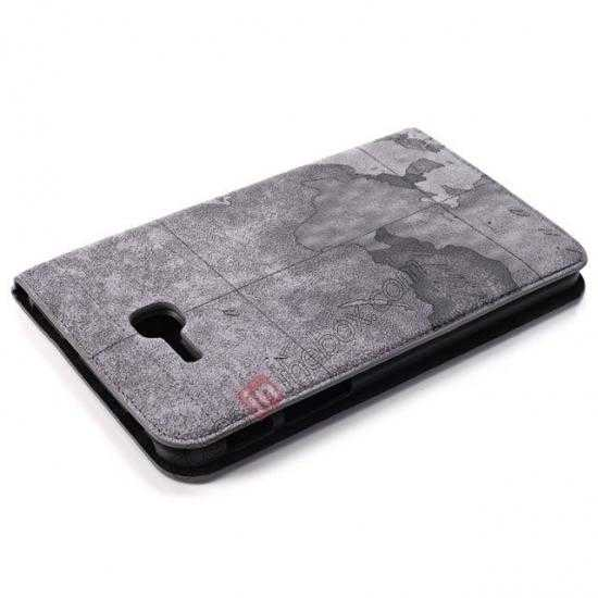 top quality World Map Pattern Folio Stand Leather Case for Samsung Galaxy Tab 3 7.0 Lite T110 - Grey