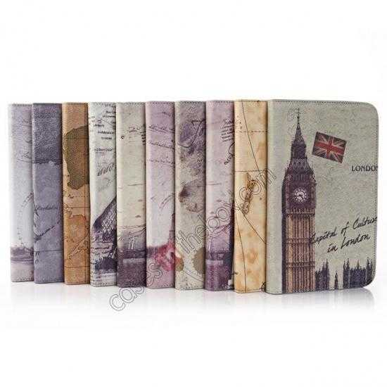 low price World Map Pattern Folio Stand Leather Case for Samsung Galaxy Tab 3 7.0 Lite T110 - Grey