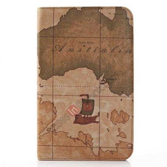 wholesale World Map Pattern Folio Stand Leather Case for Samsung Galaxy Tab 3 7.0 Lite T110 - Brown