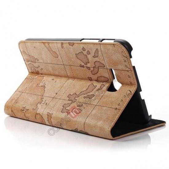 top quality World Map Pattern Folio Stand Leather Case for Samsung Galaxy Tab 3 7.0 Lite T110 - Brown