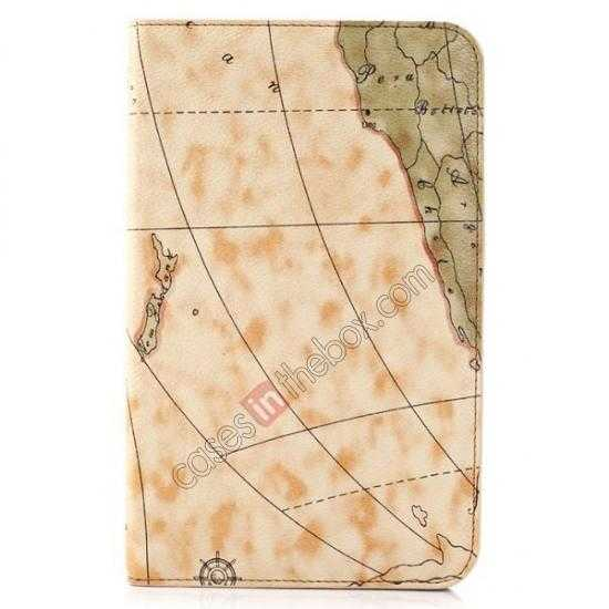 wholesale World Map Pattern Folio Stand Leather Case for Samsung Galaxy Tab 3 7.0 Lite T110 - Yellow