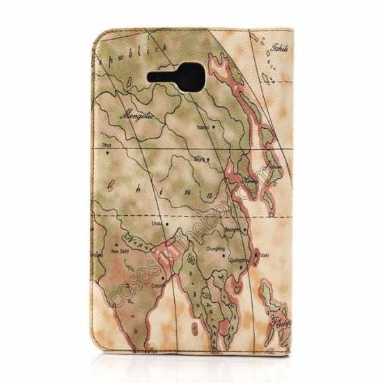 discount World Map Pattern Folio Stand Leather Case for Samsung Galaxy Tab 3 7.0 Lite T110 - Yellow