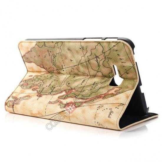 cheap World Map Pattern Folio Stand Leather Case for Samsung Galaxy Tab 3 7.0 Lite T110 - Yellow