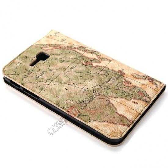 top quality World Map Pattern Folio Stand Leather Case for Samsung Galaxy Tab 3 7.0 Lite T110 - Yellow