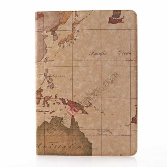 cheap World Map Pattern Folio Stand Leather Case for Samsung Galaxy Tab Pro 12.2 P900 - Brown
