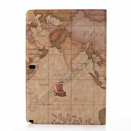 top quality World Map Pattern Folio Stand Leather Case for Samsung Galaxy Tab Pro 12.2 P900 - Brown