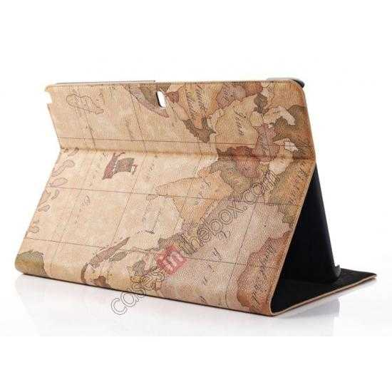 wholesale World Map Pattern Folio Stand Leather Case for Samsung Galaxy Tab Pro 12.2 P900 - Brown