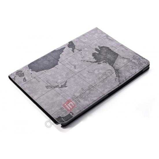 best price World Map Pattern Folio Stand Leather Case for Samsung Galaxy Tab Pro 12.2 P900 - Grey