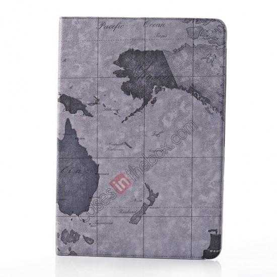 cheap World Map Pattern Folio Stand Leather Case for Samsung Galaxy Tab Pro 12.2 P900 - Grey