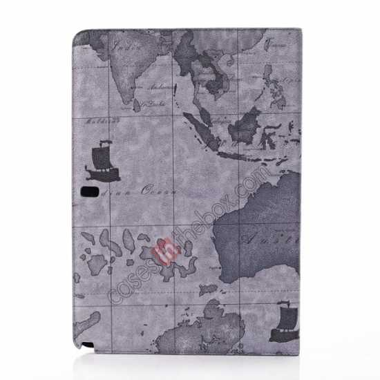 top quality World Map Pattern Folio Stand Leather Case for Samsung Galaxy Tab Pro 12.2 P900 - Grey