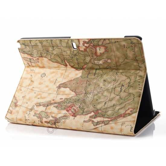 wholesale World Map Pattern Folio Stand Leather Case for Samsung Galaxy Tab Pro 12.2 P900 - Yellow