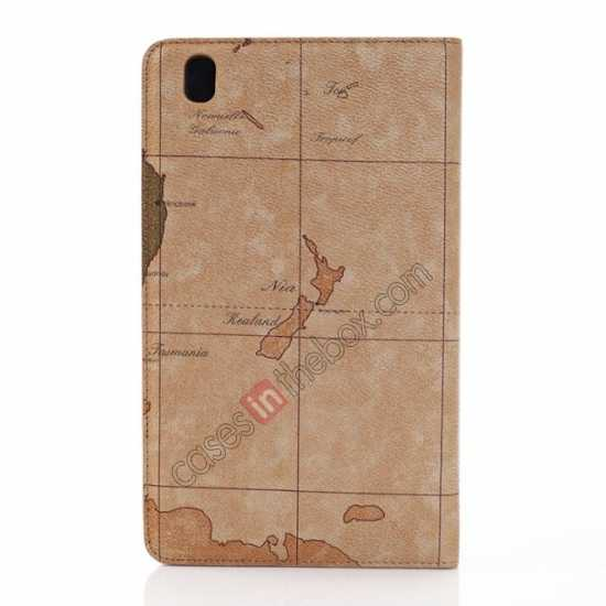 on sale World Map Pattern Folio Stand Leather Case for Samsung Galaxy Tab Pro 8.4 T320 - Brown