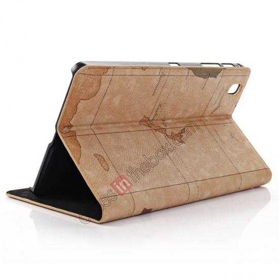 discount World Map Pattern Folio Stand Leather Case for Samsung Galaxy Tab Pro 8.4 T320 - Brown