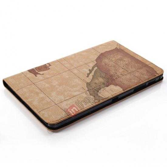 top quality World Map Pattern Folio Stand Leather Case for Samsung Galaxy Tab Pro 8.4 T320 - Brown