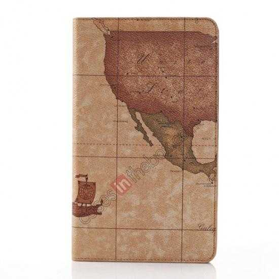 best price World Map Pattern Folio Stand Leather Case for Samsung Galaxy Tab Pro 8.4 T320 - Brown