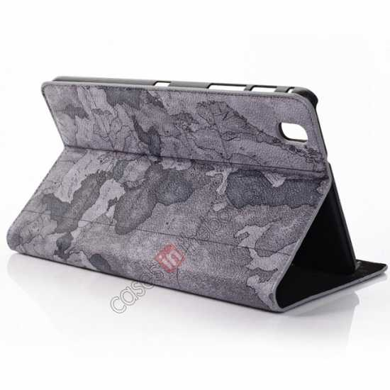 discount World Map Pattern Folio Stand Leather Case for Samsung Galaxy Tab Pro 8.4 T320 - Grey