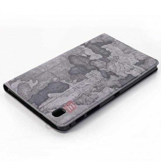 top quality World Map Pattern Folio Stand Leather Case for Samsung Galaxy Tab Pro 8.4 T320 - Grey