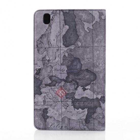 on sale World Map Pattern Folio Stand Leather Case for Samsung Galaxy Tab Pro 8.4 T320 - Grey