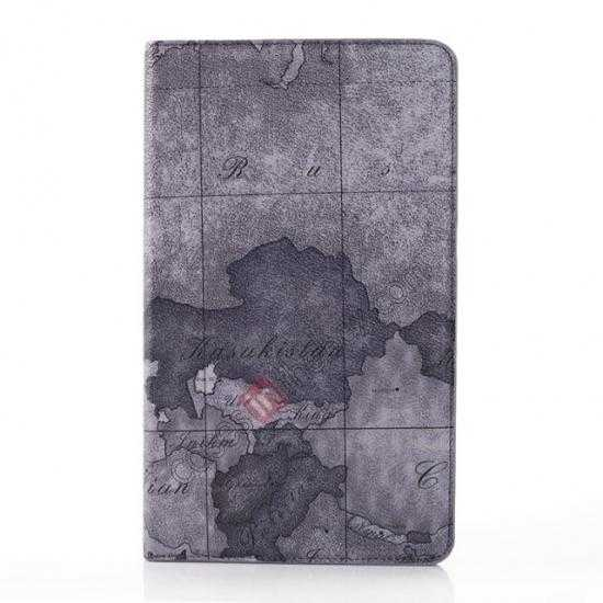 best price World Map Pattern Folio Stand Leather Case for Samsung Galaxy Tab Pro 8.4 T320 - Grey
