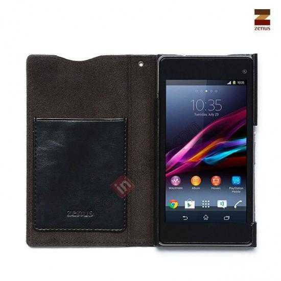 discount Zenus Lettering Diary Leather Diary Cover Case for Sony Xperia Z1 Compact(M51W)- Black