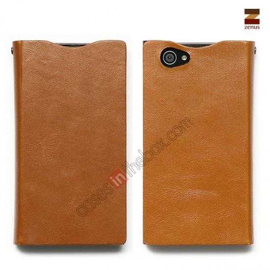 wholesale Zenus Signature Diary Genuine Cowhide Leather Cover Case for Sony Xperia Z1 Compact(M51W) - Brown