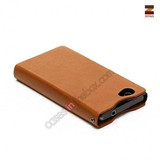 top quality Zenus Signature Diary Genuine Cowhide Leather Cover Case for Sony Xperia Z1 Compact(M51W) - Brown