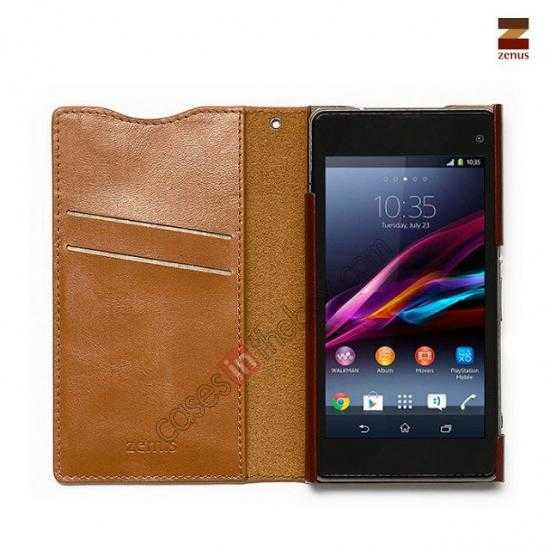 discount Zenus Signature Diary Genuine Cowhide Leather Cover Case for Sony Xperia Z1 Compact(M51W) - Brown