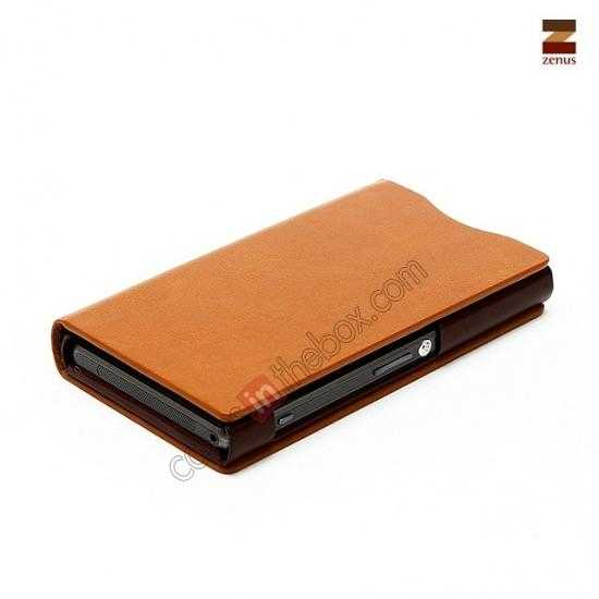 cheap Zenus Signature Diary Genuine Cowhide Leather Cover Case for Sony Xperia Z1 Compact(M51W) - Brown