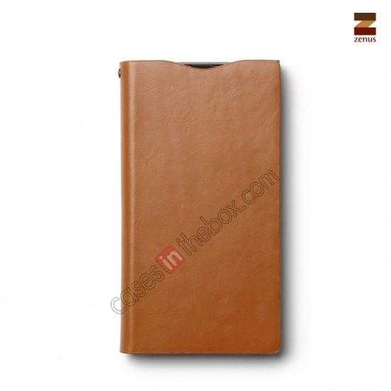 cheap Zenus Signature Diary Genuine Cowhide Leather Cover Case for Sony Xperia Z1 L39h - Brown
