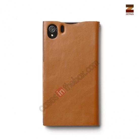 top quality Zenus Signature Diary Genuine Cowhide Leather Cover Case for Sony Xperia Z1 L39h - Brown