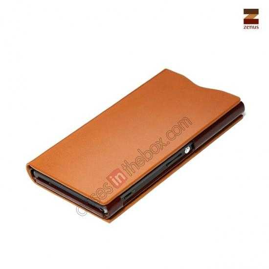 best price Zenus Signature Diary Genuine Cowhide Leather Cover Case for Sony Xperia Z1 L39h - Brown