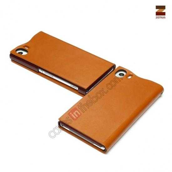on sale Zenus Signature Diary Genuine Cowhide Leather Cover Case for Sony Xperia Z1 L39h - Brown