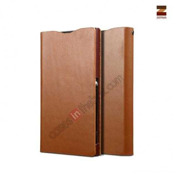 wholesale Zenus Signature Diary Genuine Cowhide Leather Cover Case for Sony Xperia Z1 L39h - Brown