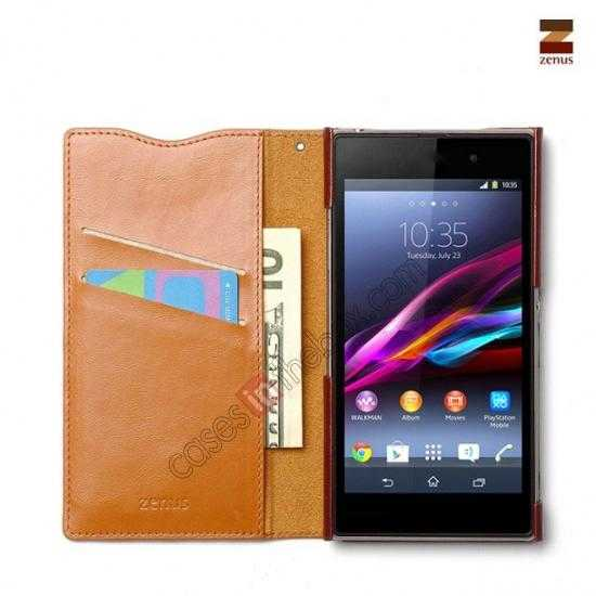 discount Zenus Signature Diary Genuine Cowhide Leather Cover Case for Sony Xperia Z1 L39h - Brown